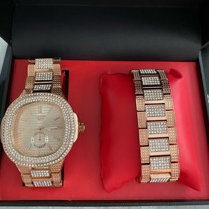 Men's watch and bracelet two tone iced out